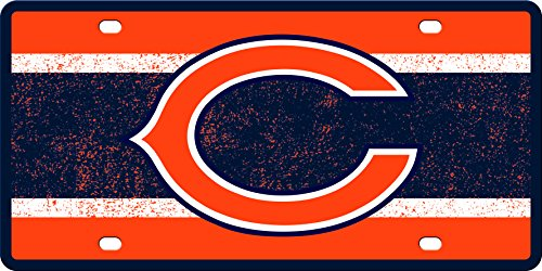 Chicago Bears VINTAGE Style Deluxe Acrylic Laser Cut Mirrored License Plate Tag Football (Chicago License Plate Laser Bears)