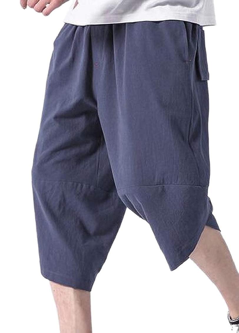 Mens Casual Capris Drawstring Joggers Harem Pants