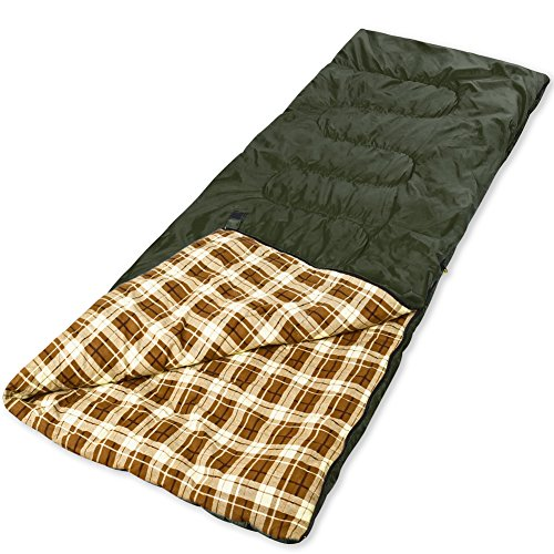 YAAO Warm Weather Sleeping Bag Envelope Shaped for Hiking Camping Green