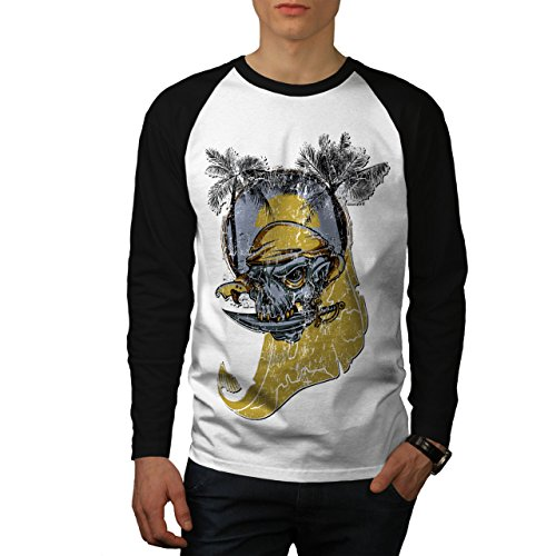 - wellcoda Beach Sea Pirate Skull Men L Baseball LS T-Shirt