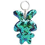 Aobiny Keychain, Cute Star Sequin Keychain Key Ring Rabbit Sequin Pendant Gift Keychain for Women Girls, Lovers, Girls, Boys (Blue)