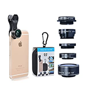 HD Camera Lens Kit for iPhone 6/ 6s Plus/ SE/ Samsung Galaxy S7/S7 Edge/S6 Edge and Other Android Smart Phone