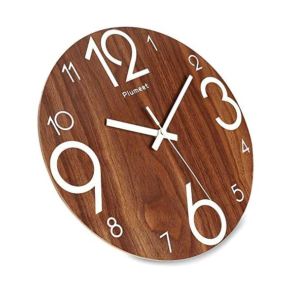 Plumeet Luminous Wall Clocks - 12'' Non-Ticking Silent Wooden Clock with Night Light - Large Decorative Wall Clock for Kitchen Office Bedroom (Wood) - GLOWING CLOCK ADVANTAGE -- Night lights function & long light up time, super quiet & non-ticking, big numbers perfect for the elderly or the visually restricted people. INCREDIBLE LUMINOUS TIME -- Light up more than 3 hours if clock receives enough sunlight at day, Four extra large numbers makes it easier to read at night. ANALOG SILENT CLOCK -- Precise quartz movements to guarantee accurate time, sweeping movement ensure a good sleeping and work environment. Made of wood, rich in rustic features. - wall-clocks, living-room-decor, living-room - 51WPOVUWK2L. SS570  -