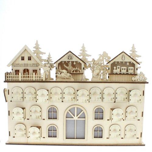 Kurt Adler LED Wooden Advent Calendar Decoration, 13-Inch (Wooden Calendar Advent)