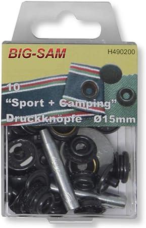 10 Druckknöpfe Schwarz nähfrei für Anorak 15mm Durchmesser mit Werkzeug Rostfrei