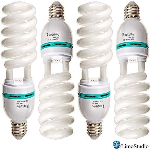 Digital Full Spectrum Light Bulb, 45W Photo CFL 6500K, Daylight, pure white, Case of 4, AGG117 (Light Bulbs White Pure)