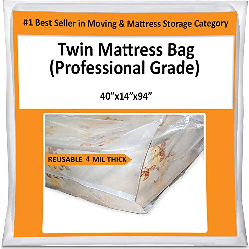 Twin Mattress Bag Cover for Moving or Storage - 4 Mil Heavy Duty Thick Plastic Wrap Protector Reusable - Storage Twin Mattress Bag