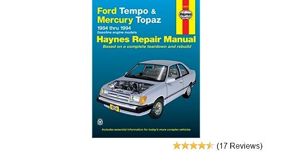 ford tempo mercury topaz 84 94 haynes repair manuals haynes rh amazon com 1990 Ford Tempo GL Speed 1987 Ford Tempo