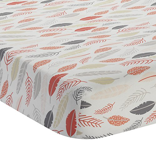 (Lambs & Ivy Family Tree Coral/Gray/Gold Feather Fitted Crib Sheet)