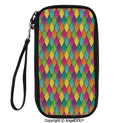 PUTIEN Travel Document Organizer Credit Card Clutch Bag Vivid Colored Stained Glass Style Pattern Wavy Lines Curves Oval Shapes Modern Decorative for Men Women.