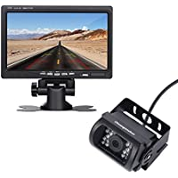 "12V 24V Wired Vehicle Backup Camera System-High Definition 7"" TFT LCD Monitor and 18 IR Light Night Version Backup Camera with 45ft RCA Video Cable for Bus Truck Trailer Van lorry heavy duty car van"
