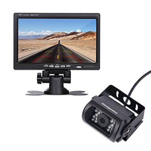 """12V 24V Wired Vehicle Backup Camera System-High Definition 7"""" TFT LCD Monitor and 18 IR Light Night Version Backup Camera with 45ft RCA Video Cable for Bus Truck Trailer Van lorry heavy duty car van"""