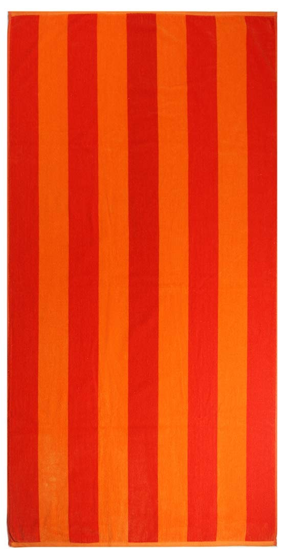 Cotton Craft - 4-Pack Assorted Velour Beach Towels - Large 32x63 Inches - 100% Cotton - Trellis & Cabana Stripe,Summer of Siam & Cabana Orange Stripe Set by Cotton Craft (Image #3)
