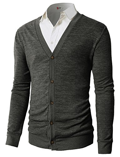(H2H Men Shawl Collar Front Pockets Single Breasted Long Sleeves Cardigan Charcoal US S/Asia M (CMOCAL019))