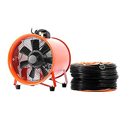 OrangeA Utility Blower 10 Inch 0.45HP 1520 CFM 3300 RPM Portable Ventilator High Velocity Utility Blower Fan Multifunctional Ventilator Fume Extractor with 5M Duct Hose ( 10 Inch Fan with Hose)