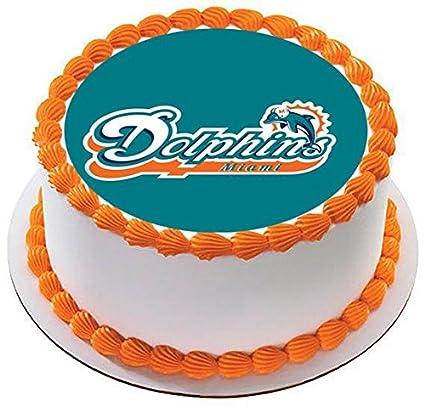 Amazon Com Miami Dolphins Edible Cake Topper 7 5 Round
