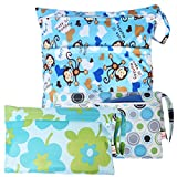 KF Baby Waterproof Cloth Diaper Travel Wet Dry Bag, Small Large Combo, Set of 3