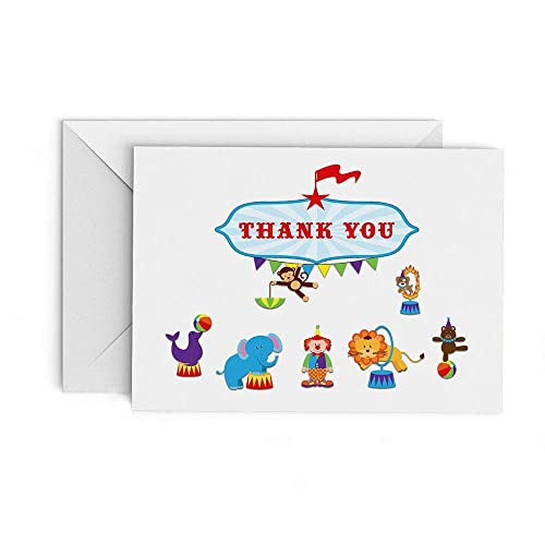 Amazon Com Circus Thank You Cards Set Of 20 Cards With Envelopes
