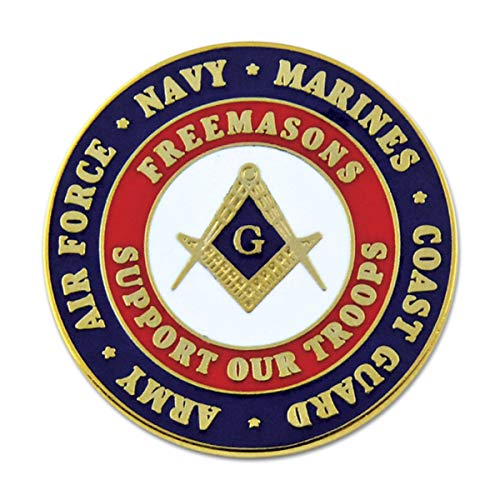 Freemasons Support Our Troops Round Blue & Red Masonic Lapel Pin - 1