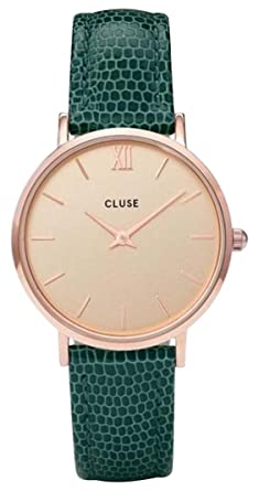 CLUSE Minuit Rose Gold Champagne Emerald Lizard CL30052 Womens Watch 33mm Leather Strap Minimalistic Design Casual