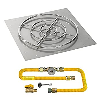 Image of American Fireglass 36' High-Capacity Square Stainless Steel Flat Pan with Match Light Kit (30' Ring) - Natural Gas Fire Starters