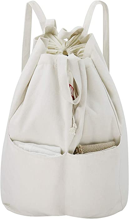 iwill CREATE PRO 100% Breathable Cotton Canvas Laundry Backpack with Drawstring Closure, Laundry Bag with Shoulder Straps & 2 Handles, Washable in Machine & Dryer