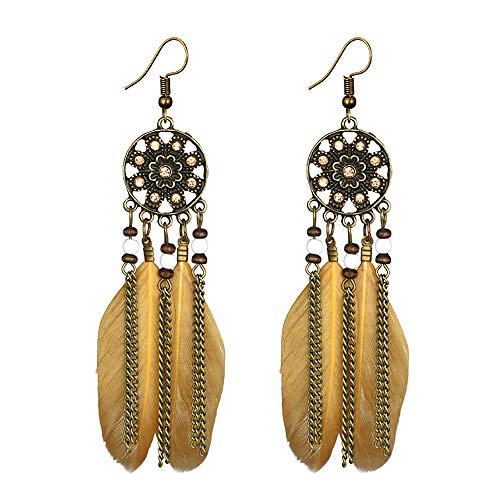 Gahrchian Women Earring Boho Long Feather Pearl Dreamcatcher Earrings Stud for Girls BIirthday Gift Jewelry (Yellow)
