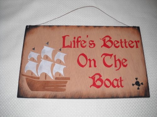 Lifes Better on the Boat Hand Stenciled Pirates Only Boys Bedroom Wooden Wall Art Sign Skull (Kids Wooden Boat)