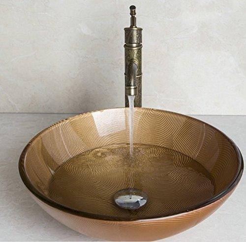 GOWE Retro Anitique Brass Tap+Hand-Paint Round Washbasin Lavatory Glass Wash Basin Sink Combine Vessel Tap Mixer Faucet 1