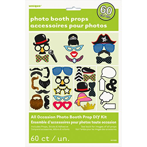 Photo Booth Props, Assorted 60pc
