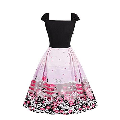 iShine elegantes Vintage Kleid Damen Knielang Faltenrock Rockabilly Abendkleider Cocktailkleider(Übergröße S-4XL)