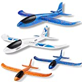 WATINC 4 pcs Airplane 17inch and 13.5inch Manual Foam Flying Glider Planes Throwing Fun Challenging Games Outdoor Sports Toy Model Air Plane Two Flight Modes Blue Orange White Aircraft for Boys Girls