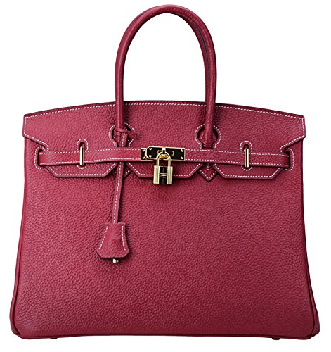 Classic Wine Tote (Cherish Kiss Women's Classic Genuine Leather Tote Padlock Handbags (35CM, Wine red))