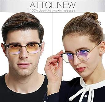 Anti Fatiga por Deslumbramiento ATTCL Gafas unisex con Armaz/ón metal para Protecci/ón contra Luz Azul