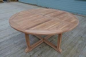 Dorchester–teca maciza–1,5m/5pies redondo Cruz pierna mesa de jardín–4–6plazas