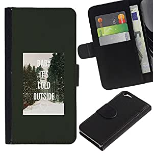 EuroTech - Apple Iphone 6 4.7 - Baby Cold Outside Winter Ray Forest - Cuero PU Delgado caso Billetera cubierta Shell Armor Funda Case Cover Wallet Credit Card