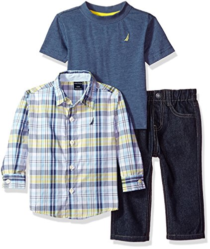 Nautica Baby Boys' Long Sleeve Woven Shirt, Tee, and Denim Pant Set, Firefly, 18 Months -