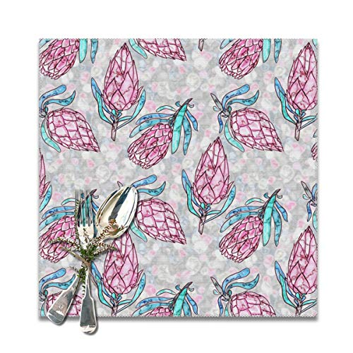 Scarlett Life Hall Unique Imperial Flower PinkDecorative Polyester Placemats Set of 6 Printed Square Plate Cushion Kitchen Table Heat-Resistant Washable Dining Room Family Children