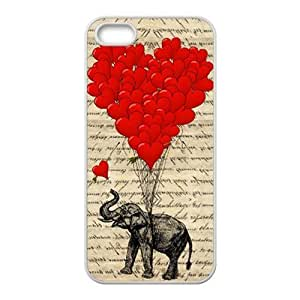 RMGT Elephant with Red heart shape balloon Cell Phone Case for Iphone ipod touch4