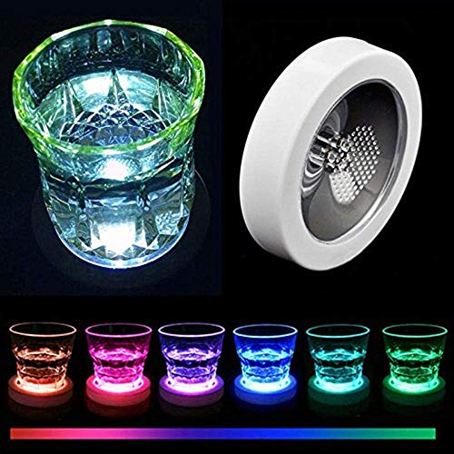 Aibote Color Changing Flashing LED Coaster Drink Bottle Cup Mat Holder for Party Club Bars Wedding Decoration White Shell Colorful -
