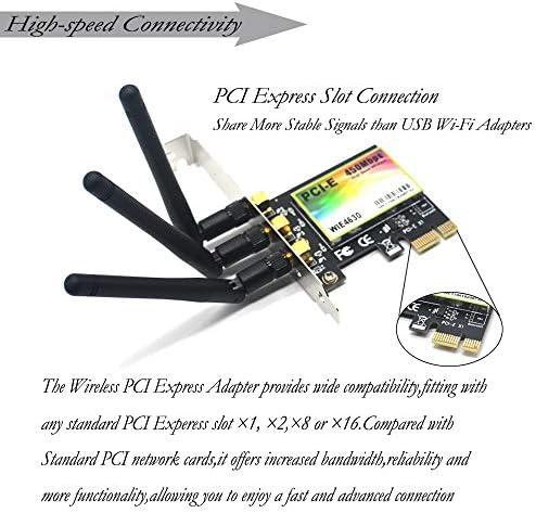 450Mbps Wireless PCI-E Card WiFi Network LAN Ethernet 3 Antennas Dual 2.4G//5G Model:WIE4630