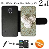 White Flower Rope Roses Custom Galaxy S5 Cases Flip Wallet Case,Bundle 2in1 Comes with Custom Wallet Case/Universal Stylus Pen by innosub