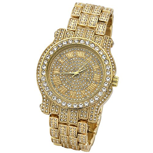 Iced Out Pave Gold Tone Hip Hop Men's Bling Bling Metal Band Watch (Metal Band Bling Watch)