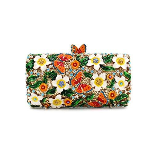 diamant métallique de de creux de embrayage de fleur papillon de dîner strass Sac sac A sac luxe cristal UxwZZqv