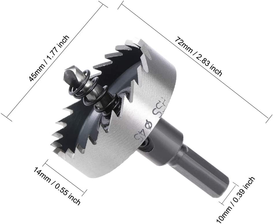 uxcell 53mm HSS Drill Bit Hole Saws for Stainless Steel Metal Alloy Wood