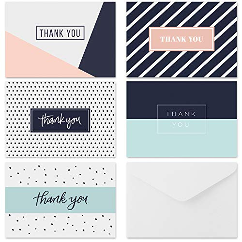 Krafster 35 Thank You Cards - 5 Unique Designs - Thank You Notes with Envelopes and Sealing Stickers, Greeting Cards Assortment Great for Baby Showers, Birthdays, Weddings, Business