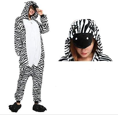 SHANGXIAN Invierno Pijamas Animales Kigurumi Adulto Unisexo Cebra Cosplay Franela Calentar Ropa De Dormir,S