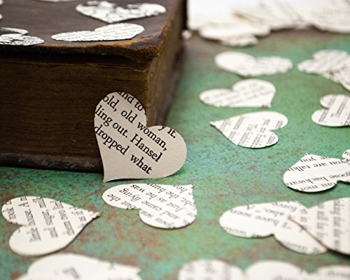 Vintage Fairy Tale Heart Confetti for Storybook Birthday Party or Wedding Table Scatter (200 pieces)