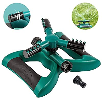 Sprinkler, Lawn Sprinklers Oscillating Water Irrigation Sprayer for Garden with Automatic 360 Rotating Head, Triple Arms & Easy Connection