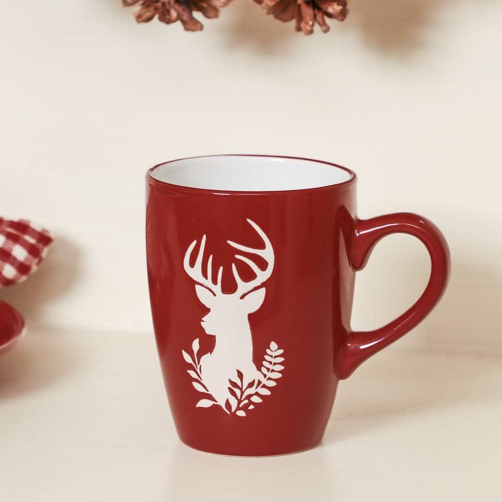 Bowls and Mugs 12pc Red Reindeer Christmas Crockery Dessert Set of Plates